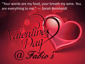 Valentine's Day at fabio swindon