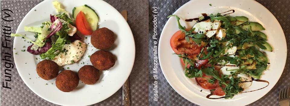 Funghi Fritti and Insalata di Mozzarella e Pomodori - Fabio Swindon starters