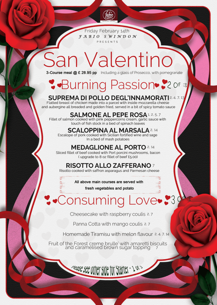 Main Meal AND Dessert - Fabios Valentine's Day Menu 2020