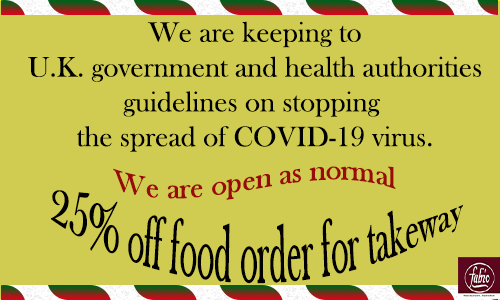 keeping to govt guidelines on COVID-19 virus AND 25% off food order - Fabios Swindon