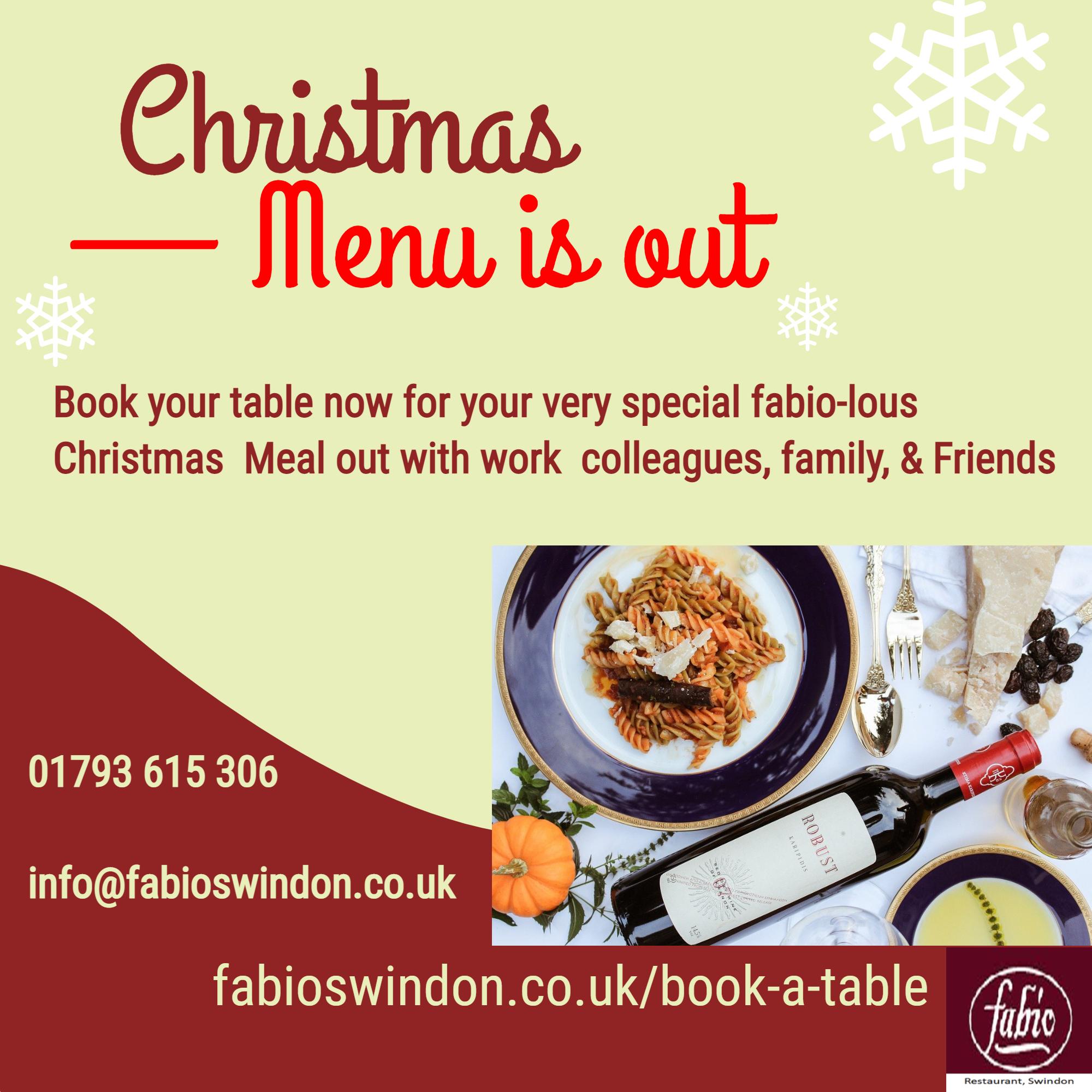 christmas menu is out - Fabio Swindon